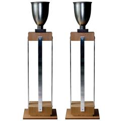 Art Deco Inspired Pair of Stands with aluminum spun vases