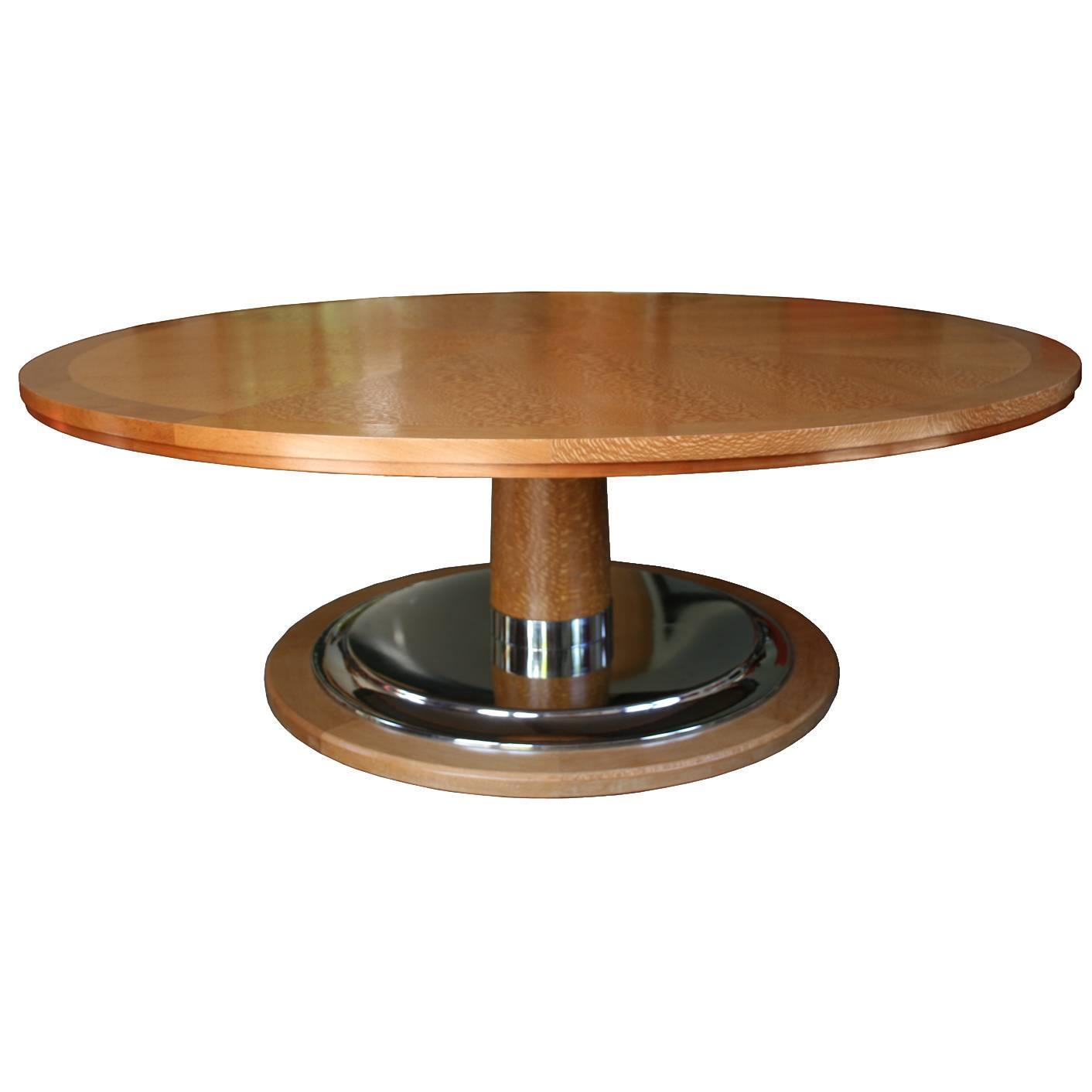 Modern large round table on pedestal with chrome plated for Large round modern dining table