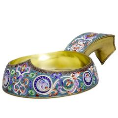 Large Russian Silver Gilt and Cloisonne Enamel Kovsch