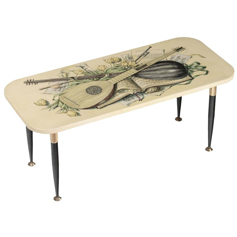 Fornasetti, Small Table Made in Lacquered Metal and Brass For Sale