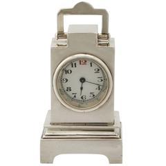 Sterling Silver Boudoir Alarm Clock, Art Deco Style, Antique George V