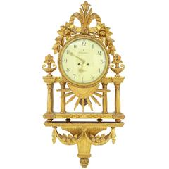 Late 19th Century Swedish Gilt Wall Clock by Rob Engstrom, Stockholm