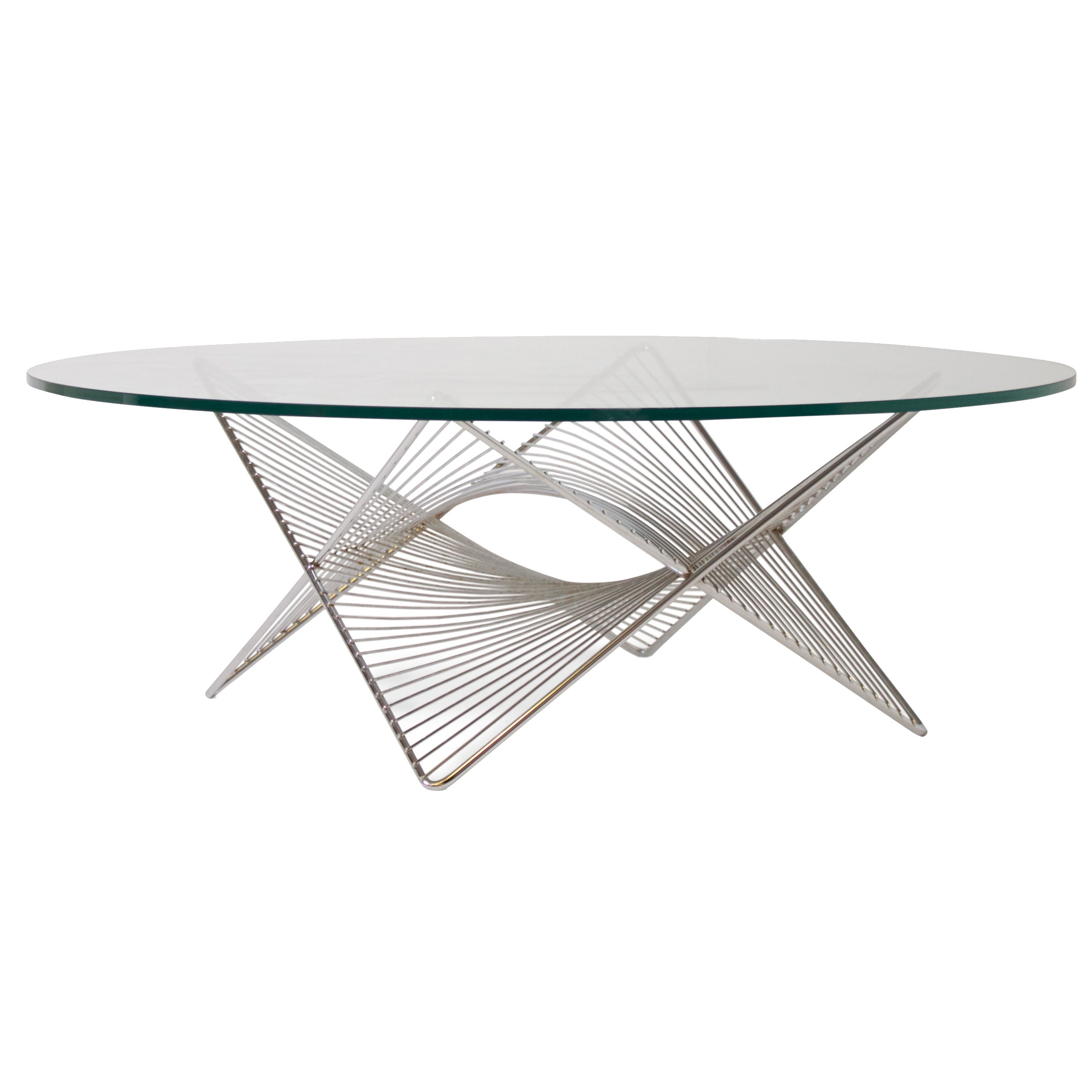 Rare 1970s Glass and Chrome Graphic Coffee Table