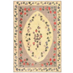 Botanical Room Size Antique American Hooked Rug. Size: 8 ft 2 in x 12 ft 6 in