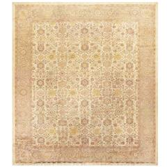 Square Size Ivory Background Persian Antique Sultanabad Rug