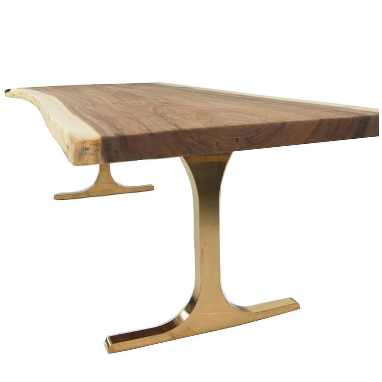 Eco Slab Dining Table With Copper T Legs