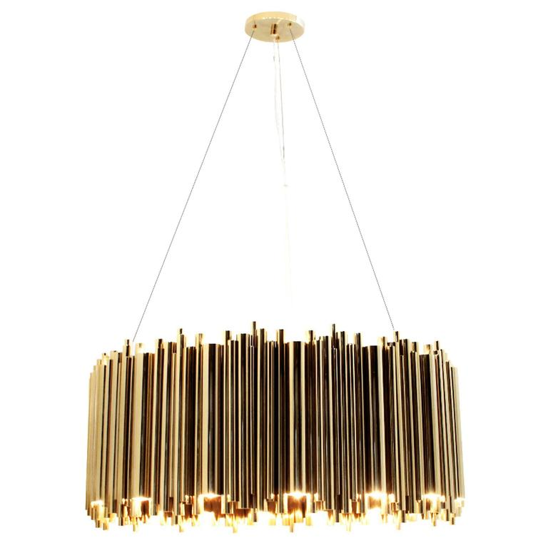 Chandelier Tubes with Handmade Gold-Plated Brass Tubes Made in 2016