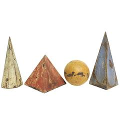 Four Big Solid Painted Wooden Geometric Models for Teaching Class
