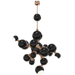 Chandelier Black Pearl with Aluminium and Brass Structure Made in 2016
