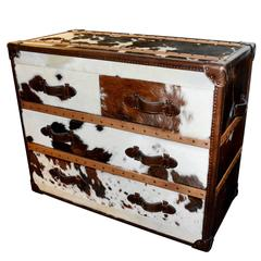 Stonyhurst Chest of Drawers with White and Brown Cow-Hide and Genuine Leather