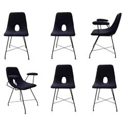 Augusto Bozzi for Saporiti, Model Cosmos, Rare Set of 6 Dining Chairs, 1950s