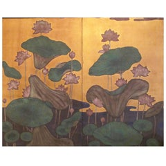 Japanese Screen 'Lotus Flowers and Leaves on Gold'