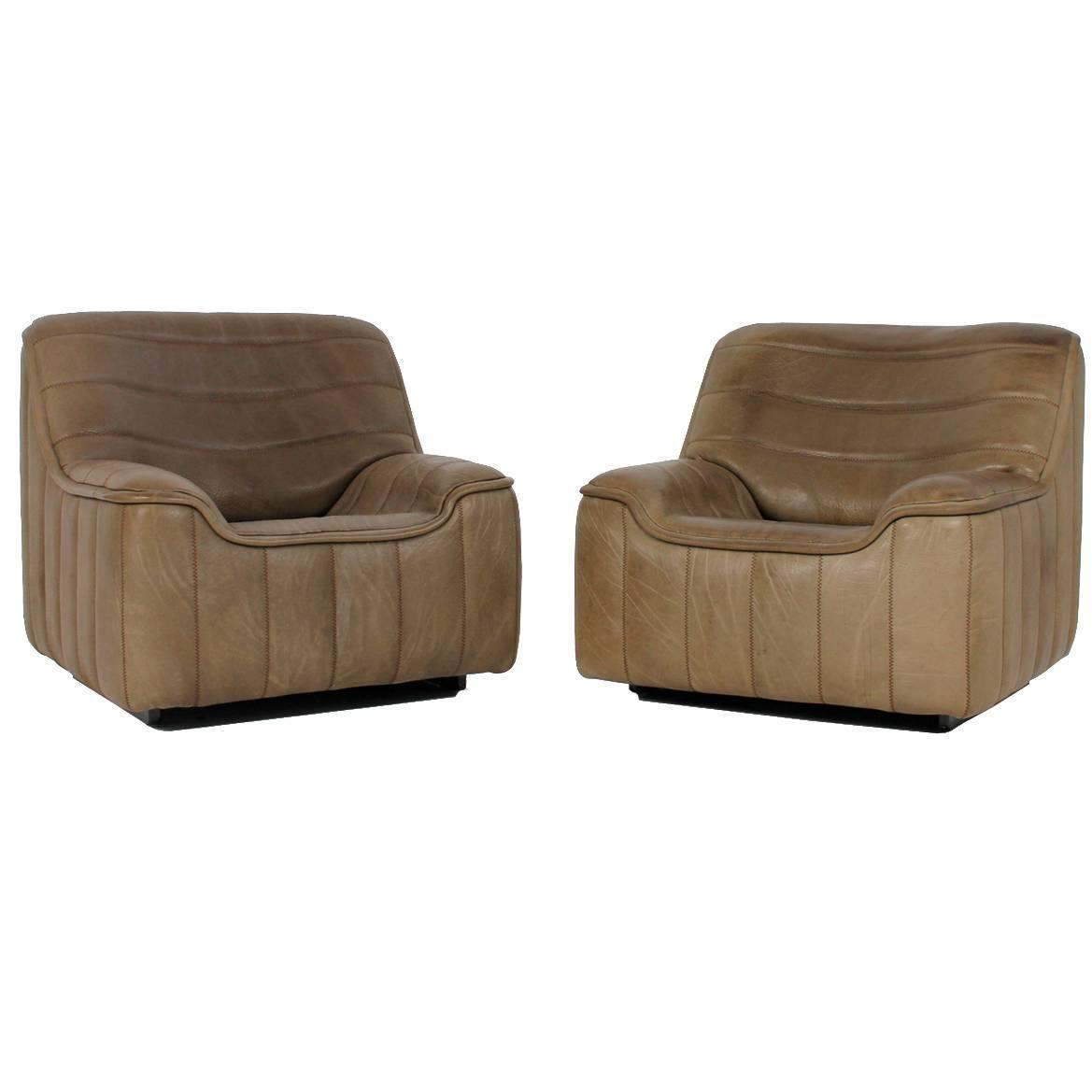 Beautiful Vintage Pair Of 1970s De Sede Ds 84 Buffalo Leather Lounge Chairs At 1stdibs