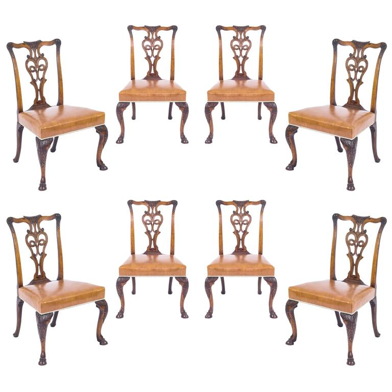 Antique Set Of Eight Irish George II Style Dining Chairs Ex Viceroy Of India