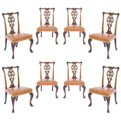 Antique Set of Eight Irish George II Style Dining Chairs, Ex-Viceroy of India