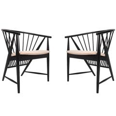 "Rare Pair of Sonna Rosen ""Sunfeather"" Lounge Chairs in Black Lacquer"