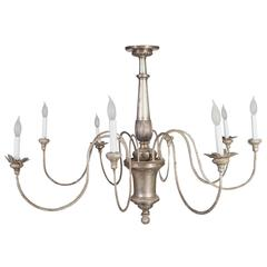 Silver Gilt Eight  Arm Tole Silver Plate-Bronze Center Chandelier