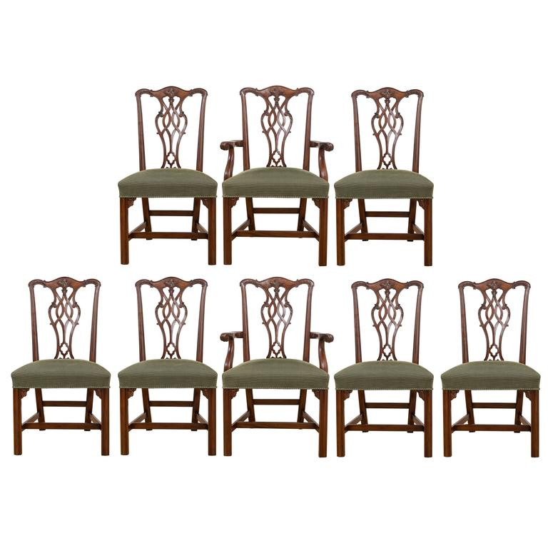 Reproduction 18th Century Chippendale Mahogany Chairs, Set Of Eight For Sale