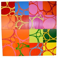 """Large 72"""" Square Colorful Four Section Painting by Mary Calkins"""
