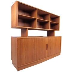 Mid-Century H.P. Hansen Teak Sideboard with Top Bookcase Display