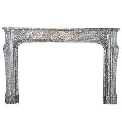 18th Century Belgian Antique Fireplace Mantel Grey Belgian Marble Fireplace
