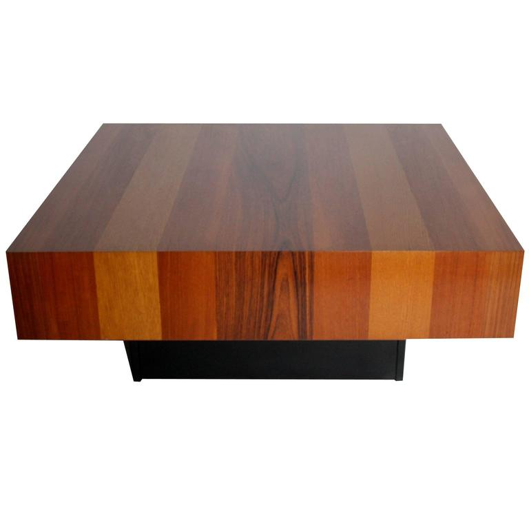 Danish Modern Mixed Wood Square Coffee Table For
