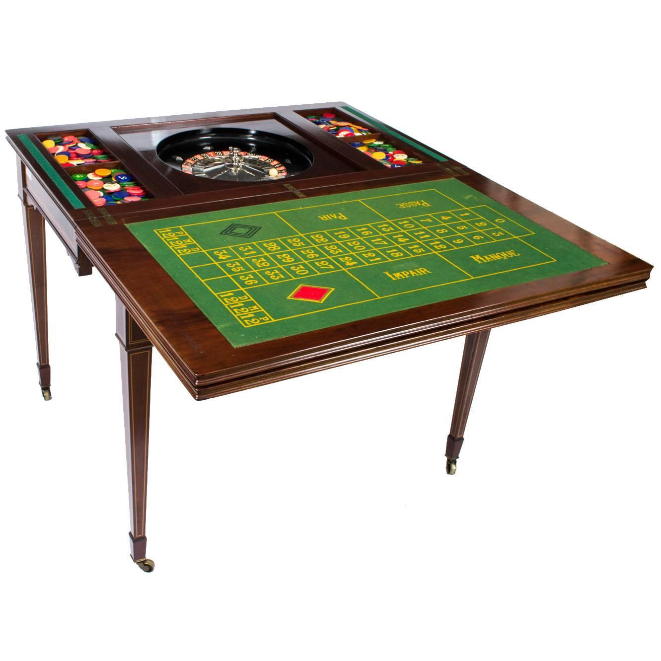 antique edwardian mahogany games roulette table circa. Black Bedroom Furniture Sets. Home Design Ideas