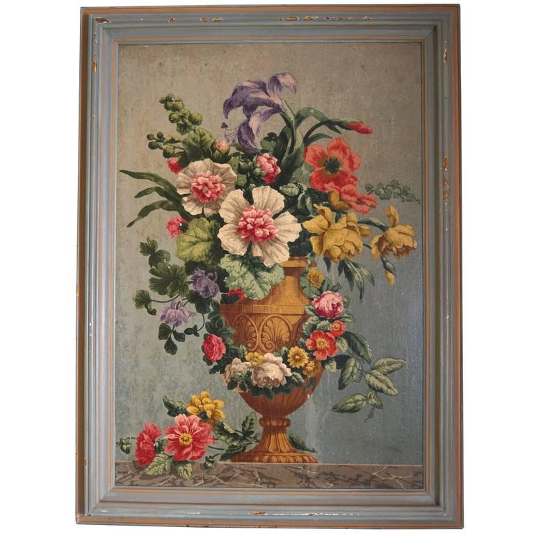 Oil on Board Painting of Still Life with Flowers in Urn