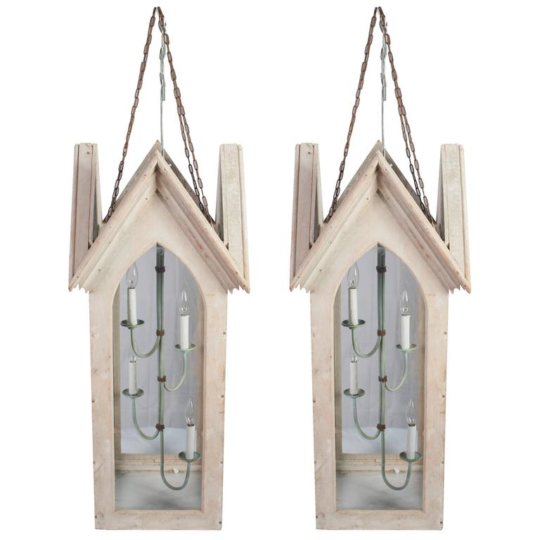 Pair of Lime Painted Gothic Lanterns