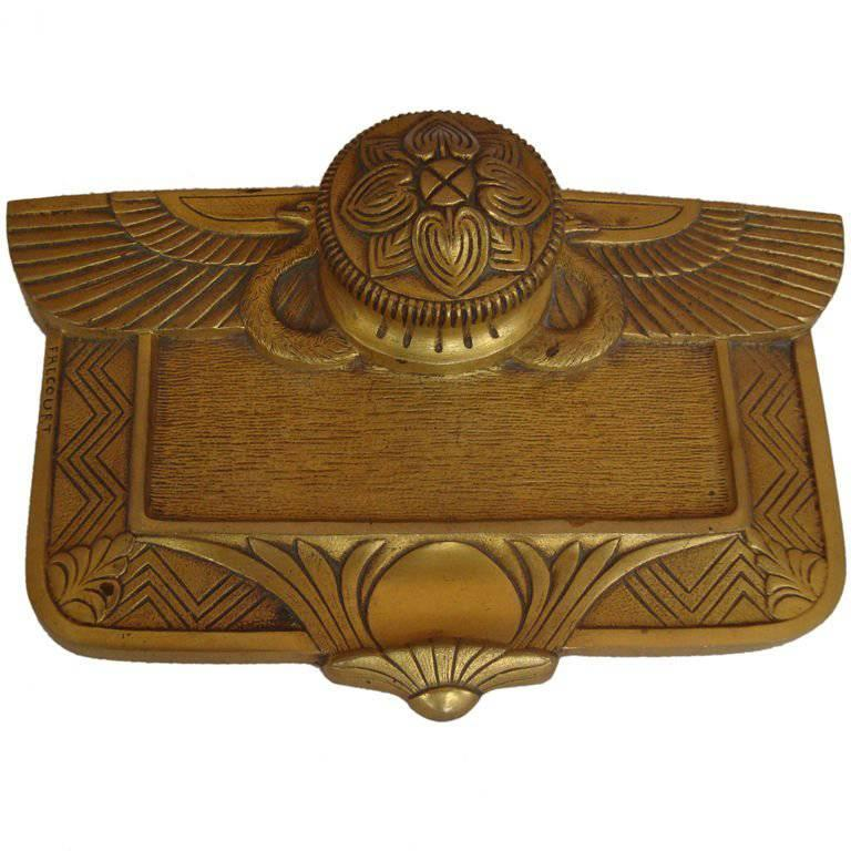 Art Deco Bronze Inkwell by Maurice Frecourt
