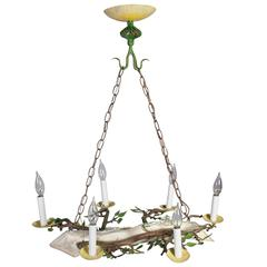Small Yellow, Green Painted Chandelier in the Form of a Log, with Leaves
