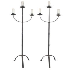 Pair of Early Italian Cast Iron Standing Floor Candelabras with Three Arms