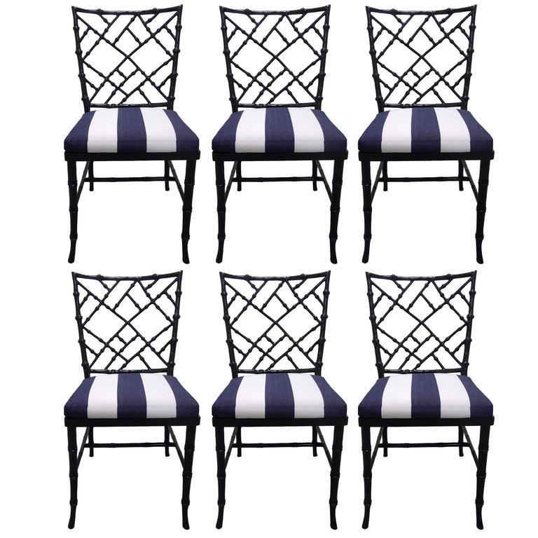 Black Bamboo-Style Dining Chairs, Set Of Six For Sale At