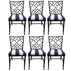 SALE Black Bamboo-Style Dining Chairs, Set of Six