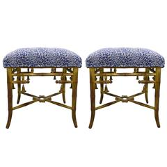 Giltwood Bamboo Scalamandre Upholstered Leopard Stools, Pair