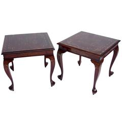 Pair of Louis XV Style Side Tables in Exotic Wood, Gilt Brass Inlay, circa 1900