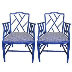 Faux-Bamboo Blue Painted Armchairs, Pair