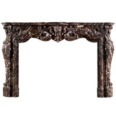 Sumptuous Emperador Louis XV Style Marble Fireplace Mantel