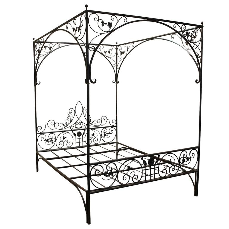 Queen wrought iron vine canopy bed at 1stdibs for Wrought iron bedroom furniture