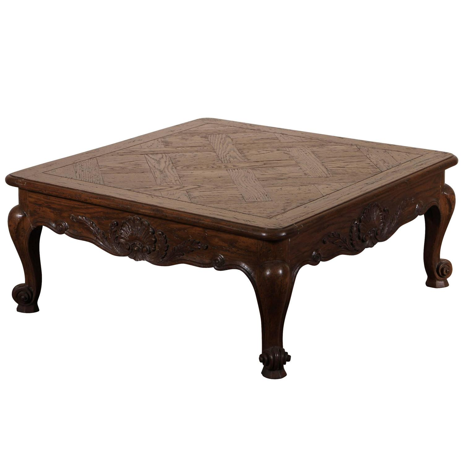 Country French Parquetry Cocktail Table By Auffray At 1stdibs