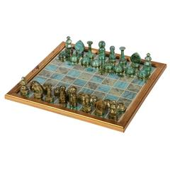 Decoupage Chess Board with Gaming Pieces