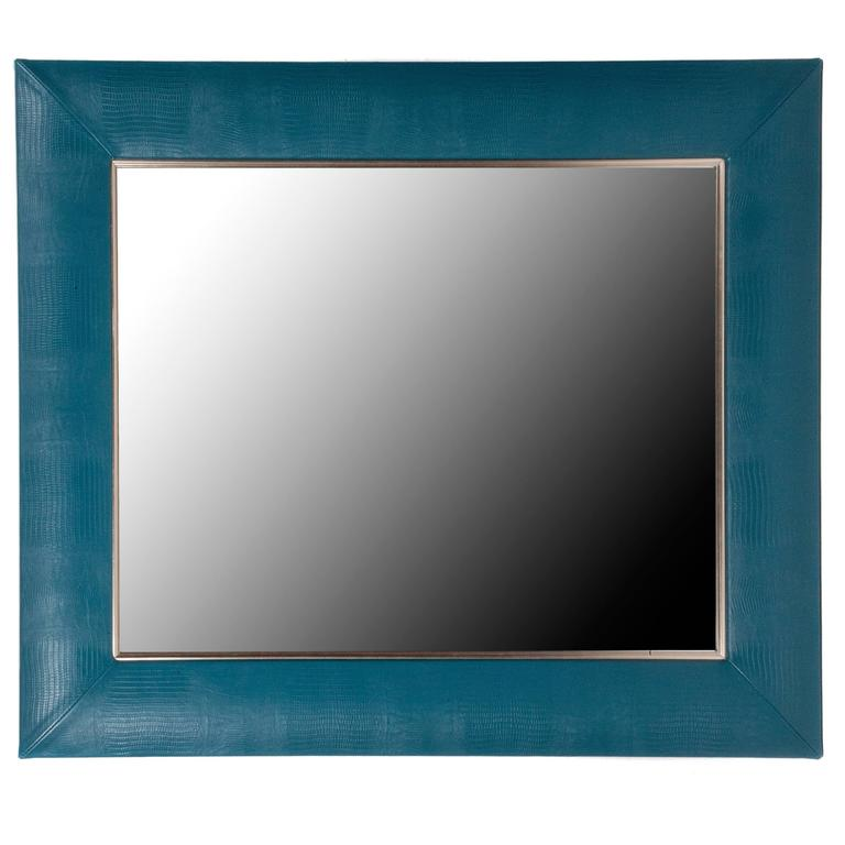 teal lizard embossed leather framed mirror with gold