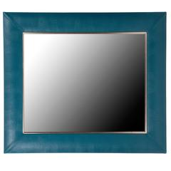 Teal Lizard Embossed Leather Framed Mirror with Gold Detailing