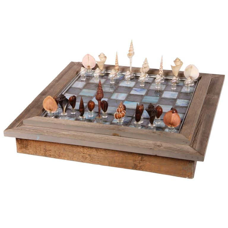 Leaded Glass Chessboard with Shell and Lucite Playing Pieces For Sale