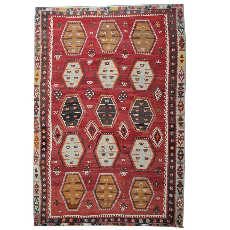 Antique Anatolian Turkish Kilim Rug