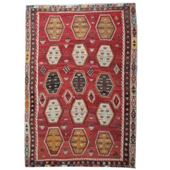 Antique Rugs, Red Kilim Turkish Rug, Sarkisla Carpet Rugs for Sale