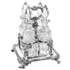 Antique English Regency Silver Four Bottle Cruet Paul Storr, 1820