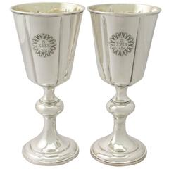 Pair of Sterling Silver Chalices, Antique Victorian