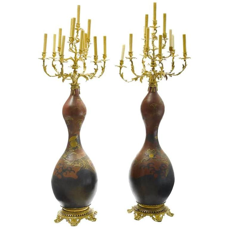 Pair of 19th Century Japanese Porcelain and Gilt Bronze Mounted Floor Candelabra