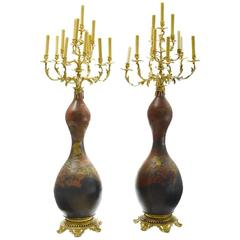 Pair 19th Century Japanese Porcelain and Gilt Bronze Mounted Torchere Floor Lamp